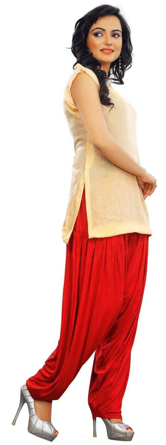Patiala Style Baggy Pants for Women Harem Style Indian Clothing (Red, One Size)