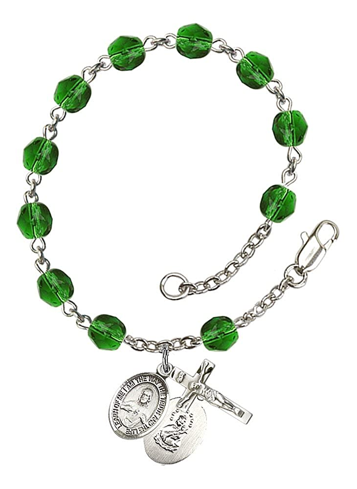 Patron Saint The Crucifix measures 5//8 x 1//4 The charm features a Scapular medal Silver Plate Rosary Bracelet features 6mm Emerald Fire Polished beads