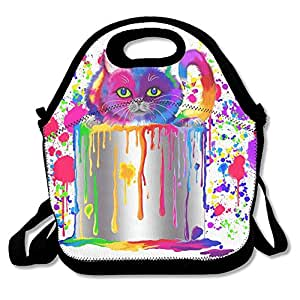 Cat Waterproof Reusable Neoprene Lunch Bags Boxes With Adjustable Shoulder Strap For Men Women Adults Kids Toddler Nurses