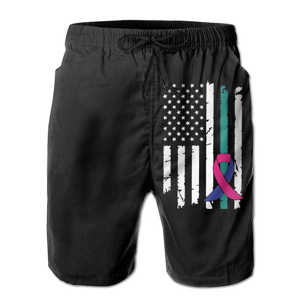 Thyroid Cancer Awareness USA Flag-1 Mens Fashion Board//Beach Shorts Summer Casual Swimming Shorts with Pockets