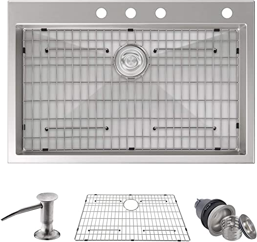 MOWA HMT3322 Pro Series Handmade 33 16 Gauge Stainless Steel Topmount Drop-in Kitchen Sink – Upgraded Perfect Drainage, 9-Gauge Thick Rim Deep Basin Sink w 3PC Basket Strainers, Sink Grid