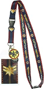 Captain Marvel Lanyard with Metal Charm and Clear ID Holder