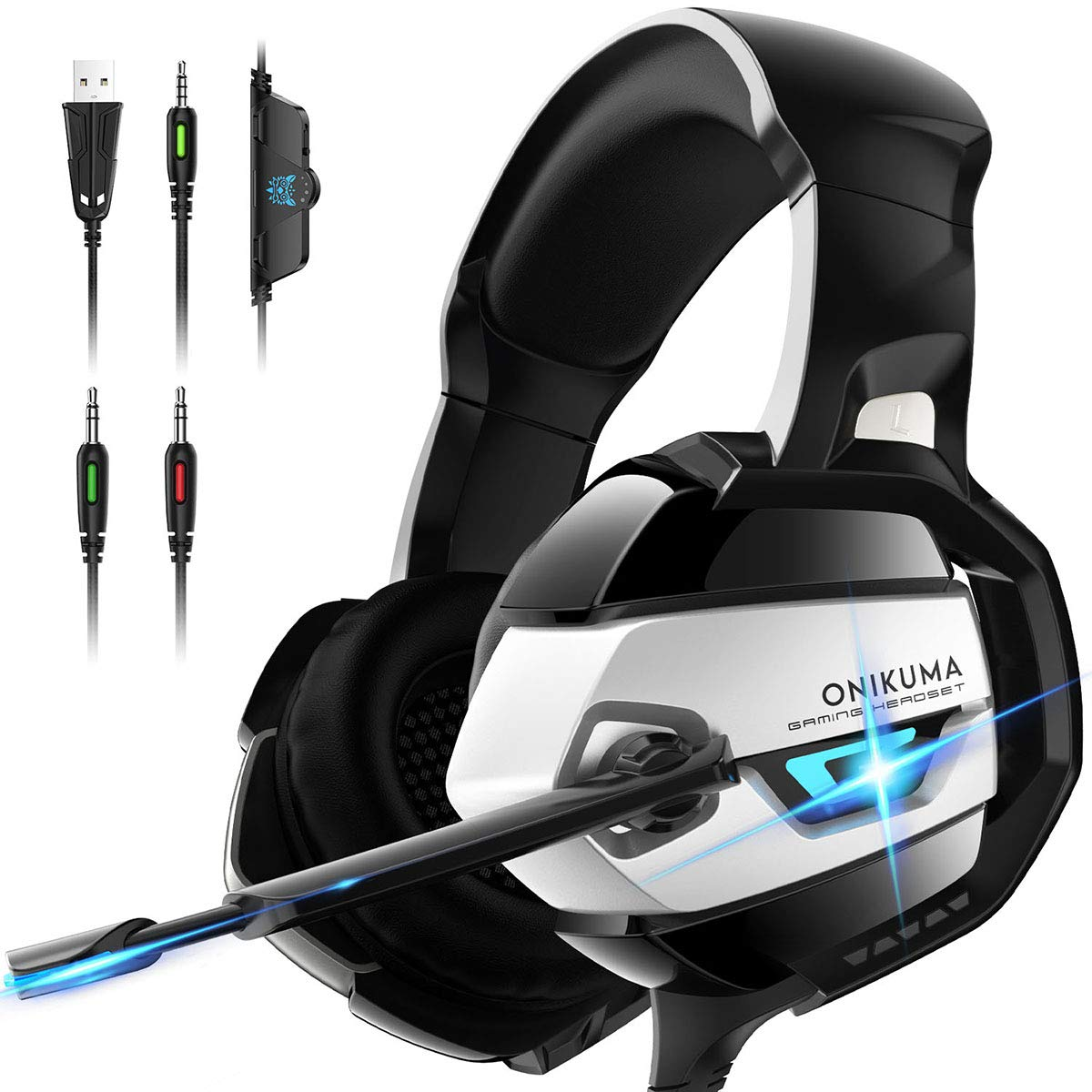 ONIKUMA Gaming Headset - Xbox 360 Headset [2019 K5 Pro] with Noise Canceling Mic &7.1 Surround Bass, Over Ear Gaming Headphones for Xbox 360, Xbox ...