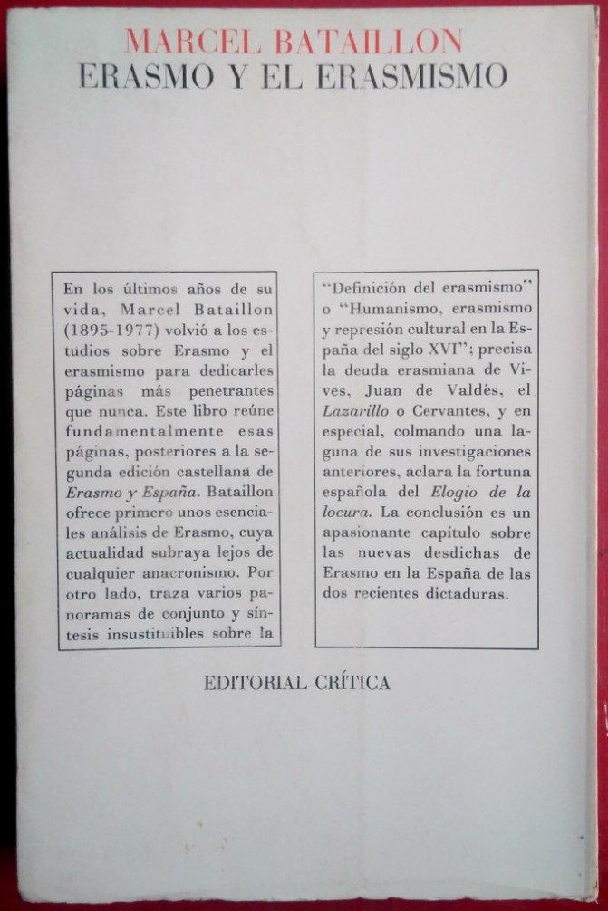 Erasmo y el erasmismo: Amazon.es: Bataillon, Marcel: Libros