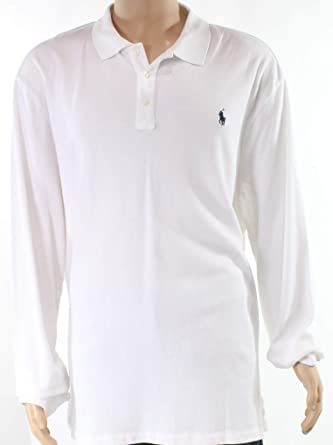 116e3b99cffad Polo Ralph Lauren Mens French Terry Long Sleeves Polo Shirt White ...