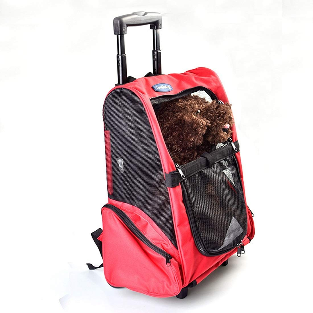 Red L44×W28×H50(100)cm Red L44×W28×H50(100)cm FELICIOO Pet Supplies Travel Trolley Pet Boxes Dog Travel Outdoor Carrying Bags (color   Red, Size   L44×W28×H50(100) cm)