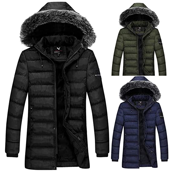 Amazon.com: AKIMPE Mens Winter Hoodie Fur Collar Thickened Pure Color Cotton Outwear Jacket Coat: Clothing