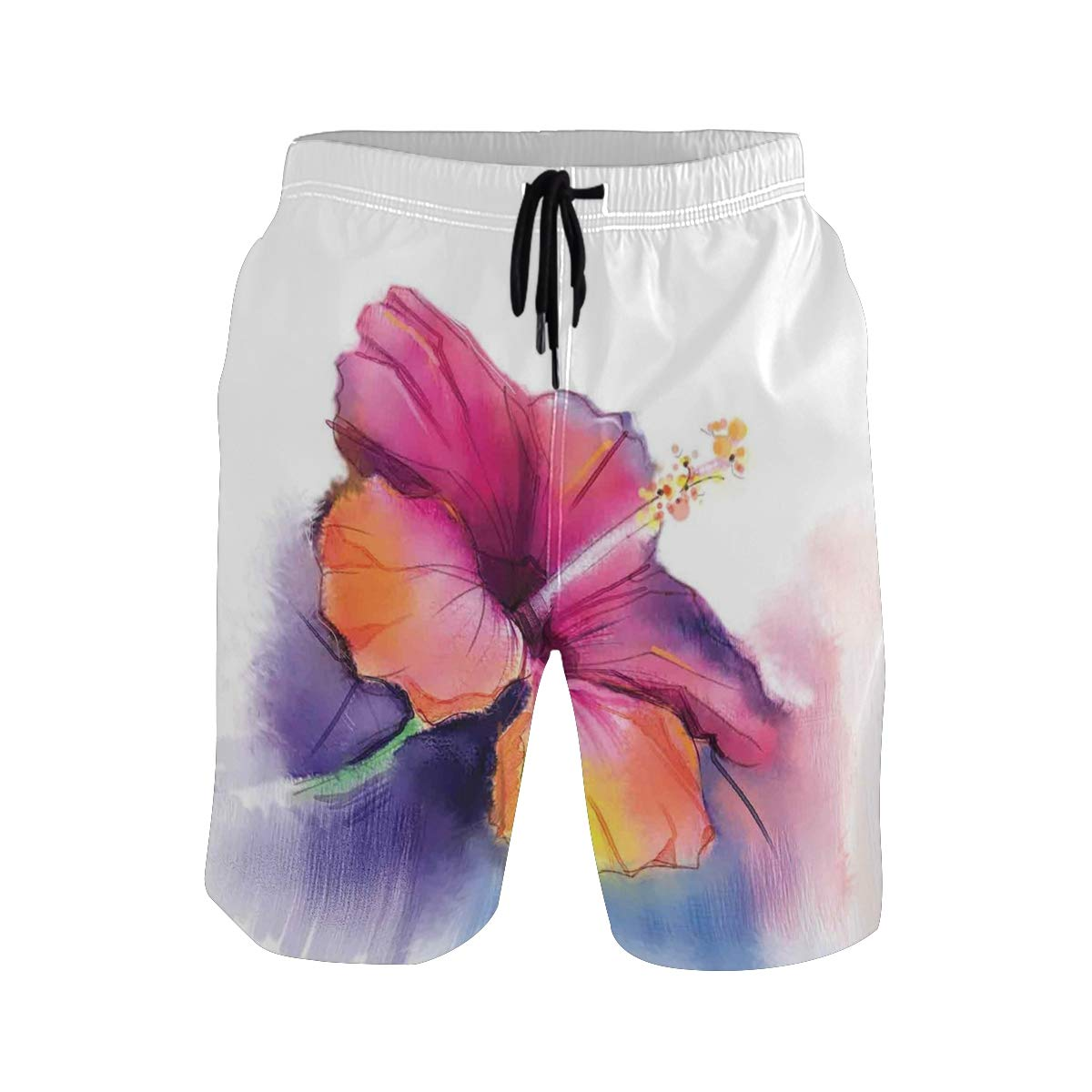 COVASA Mens Summer ShortsHibiscus Flower in Pastel Abstract Colorful Romantic
