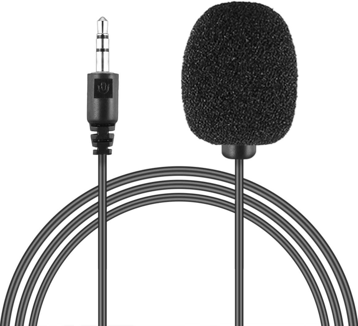 Funnyrunstore portátil Externo de 3,5 mm Manos Libres Mini con conexión de Cable Clip de Solapa Micrófono lavalier para PC Laptop Lound Speaker (Negro)