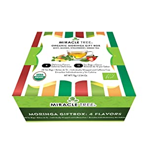 Miracle Tree - Gift Box with Organic Moringa Superfood Tea, 48 Individually Sealed Tea Bags (4 Flavors: Mint, Mango, Strawberry, Green Tea) - Spirit Combo