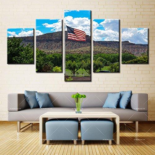 5パネル現代ホーム壁アートHD画像キャンバスPrintingsリビングルーム装飾テーマthe American Flag 12X16 12X24 12X32 LH-5-S2088 B076PCPLSX No Framed 12X16 12X24 12X32