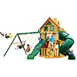 Gorilla Playsets Mountaineer Clubhouse Treehouse Swing Set with Shield