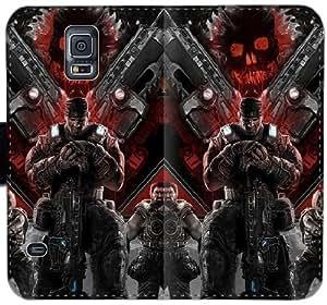 Gears Of War cráneo Uyb X0G7P Funda Samsung Galaxy S5 caja de cuero Funda M4iw0g manera genérica fundas caso del tirón del teléfono