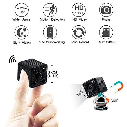 Mini Cámara Espia LXMIMI 1080P Gran Angular de 140 ° Cámara de Seguridad con Visión Nocturna