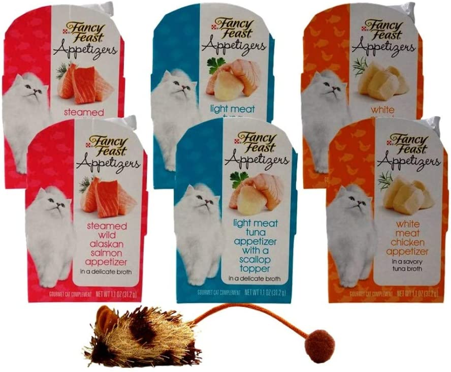 Fancy Feast Appetizers Gourmet Cat Complement 3 Flavor Variety 6 Can with Catnip Mouse Bundle, 2 Each: Wild Alaskan Salmon, Tuna Scallop, White Meat Chicken (1.1 Ounces)