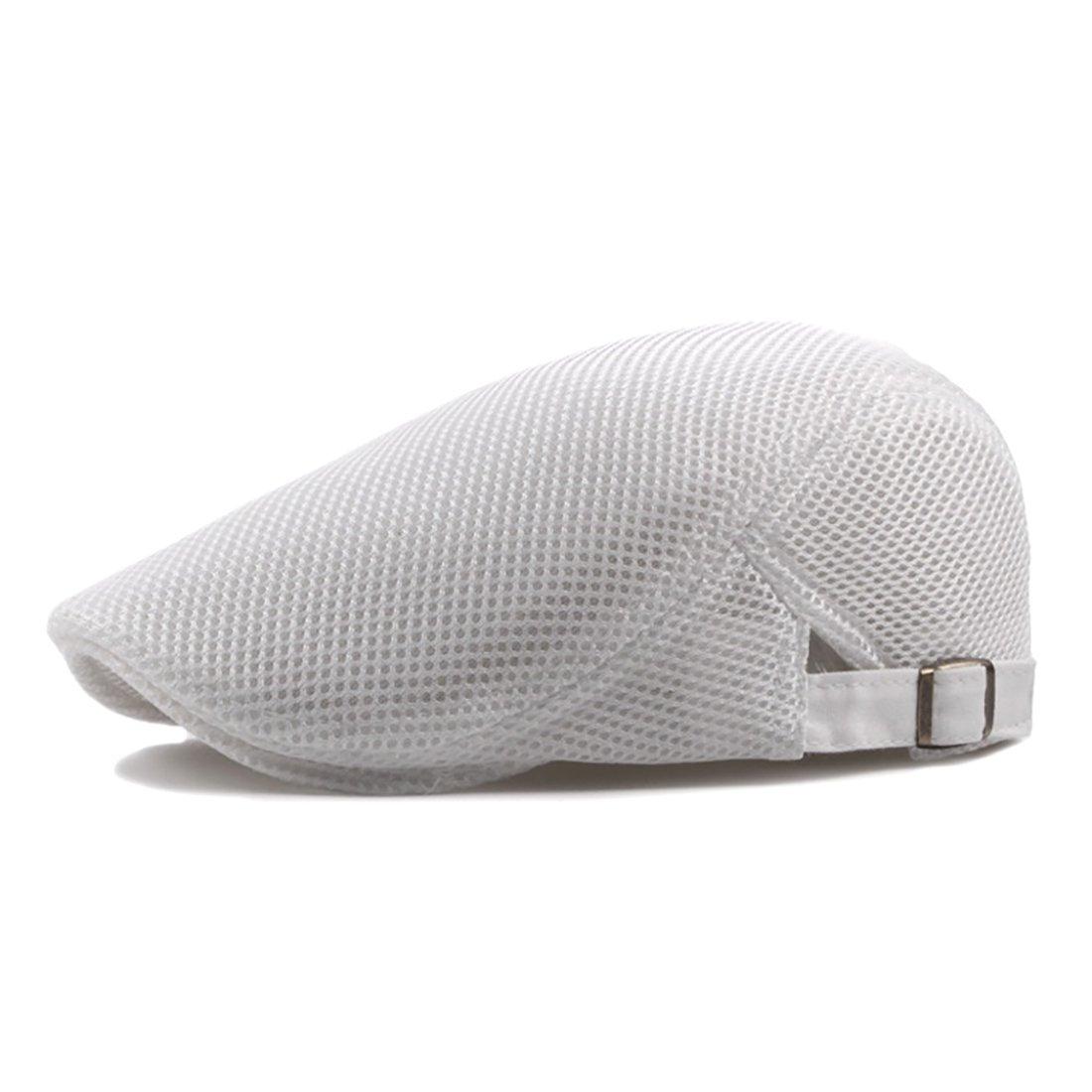 332e0b85a68 UNYU Men Breathable mesh Summer Hat Newsboy Beret Ivy Cap Cabbie Flat Cap  (White)  Amazon.co.uk  Clothing