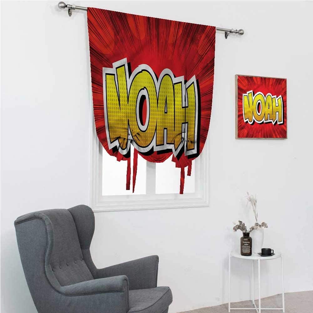 Amazon Com Drapes For Bedroom Noah Room Darken Curtains Common Teen Boys Name 35 Wide By 64 Long Home Kitchen