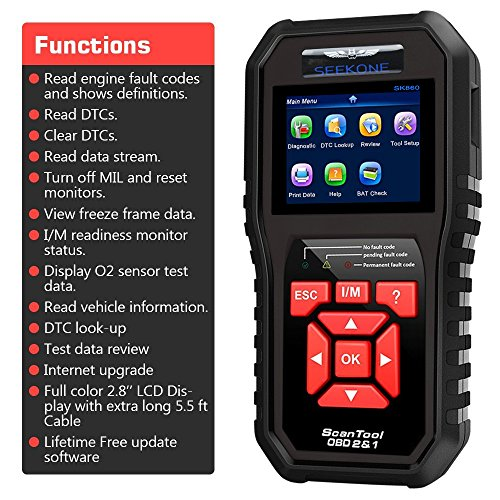 SEEKONE OBD2 Scanner Professional Car OBD II Scanner Auto Diagnostic Fault Code Reader Automotive Check Engine Light Diagnostic EOBD Scan Tool for All OBDII Protocol Cars Since 1996(Enhanced SK860)