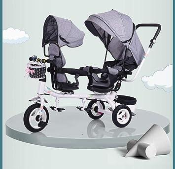Triciclo Doble para Niños Cochecito Doble Bebé Bicicleta ...
