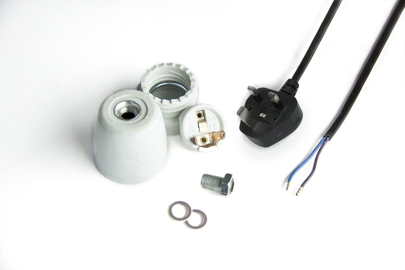 RepTech Ceramic E27 Socket Set with 2 Meter Power Cord, UK Plug CSS350