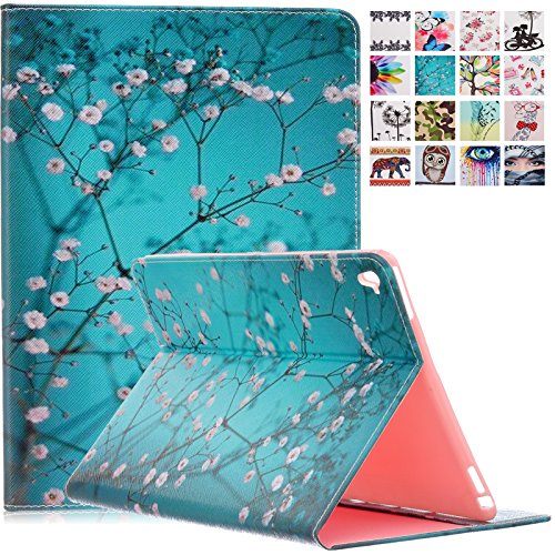 iPad Pro 9.7 2016 Case with Stylus Pen, Dteck(TM) PU Leather Protective Wallet Case with [Card Slots] Cartoon Cute Flip Folio Stand Cover for Apple iPad Pro 9.7 inch 2016 Model Tablet,Pear Flower