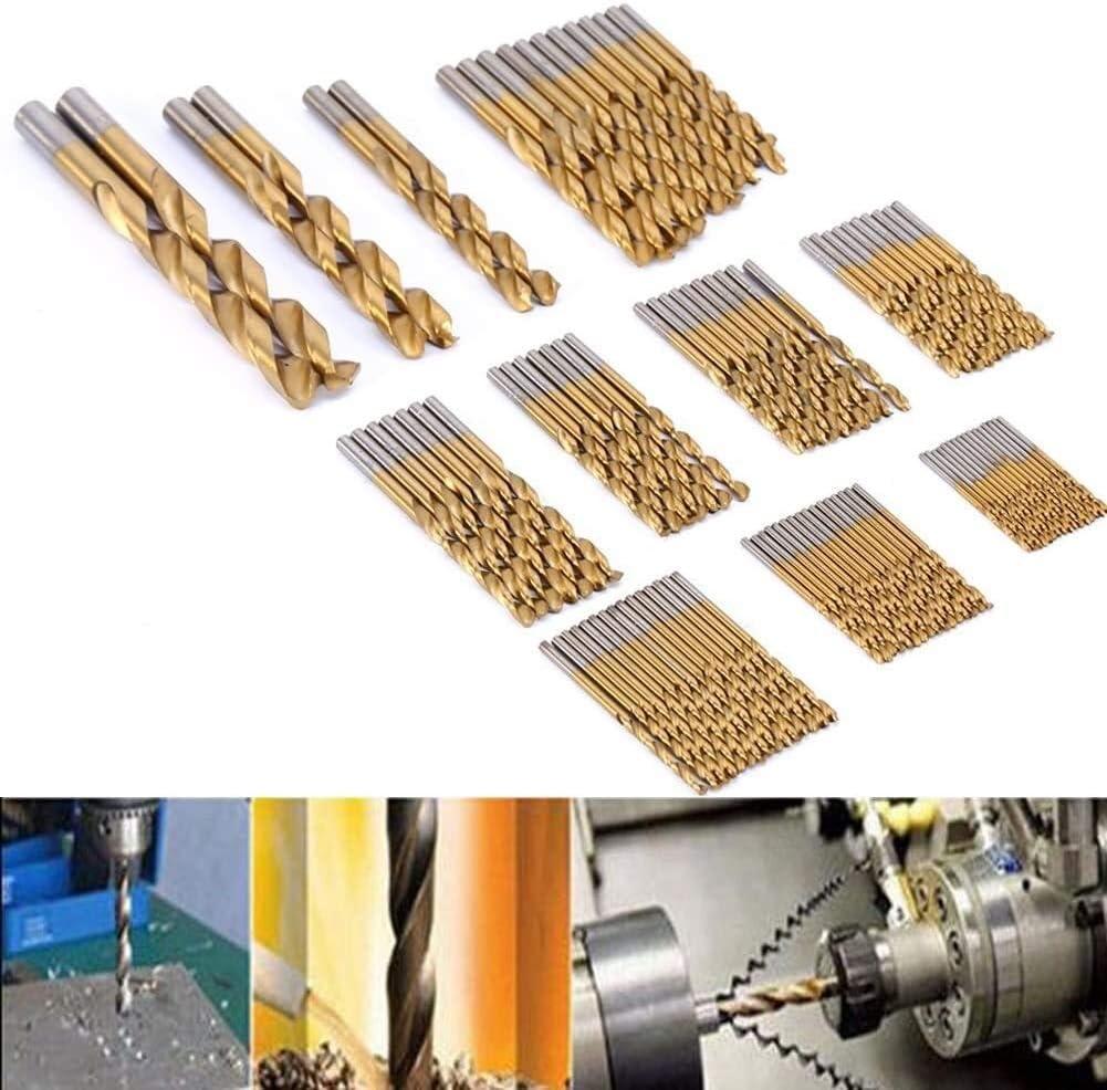 Titanium Coated HSS Drill Bit Set 99pc Drill Bits Steel High Speed Twist Drill Bit Set for Wood Plastic and Aluminum 1.5mm 10mm