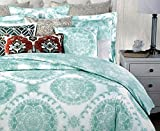 Nicole Miller Bedding 3 Piece Full / Queen Duvet Cover Set Light Aqua Green Medallions on White