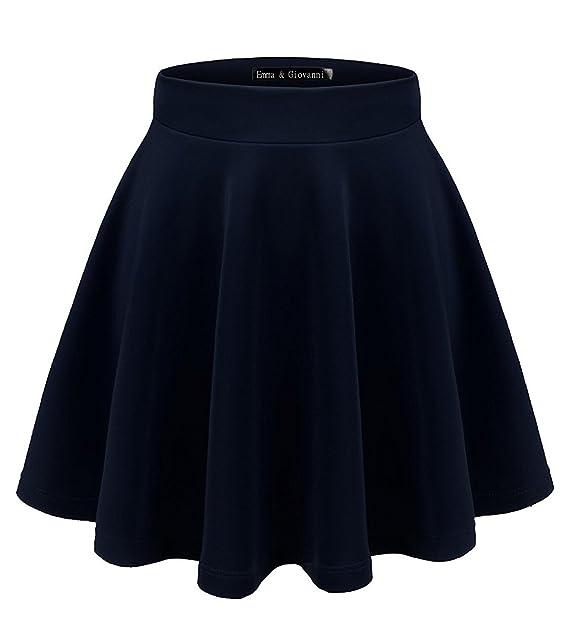 Emma   Giovanni - Mini Corto Elástica Plisada Básica Falda - Mujer (Azul  Marino 42e001e7fce2