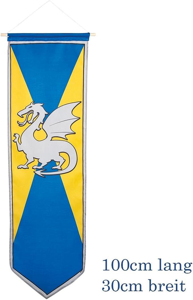 Blasón Medieval - Amarillo-Azul   Estandarte con Dragón   Decoración Fiesta Caballeros   Bandera con Blasón: Amazon.es: Juguetes y juegos