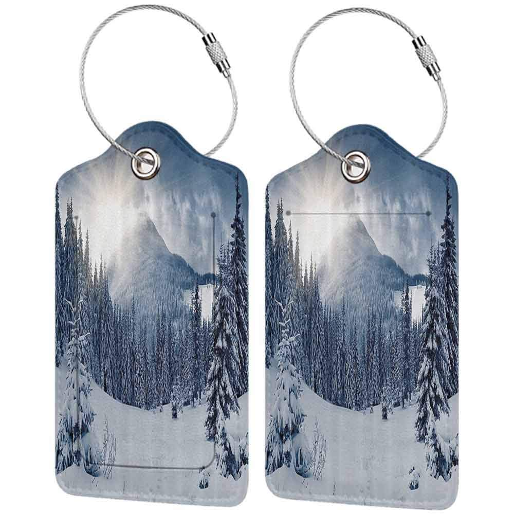 Soft luggage tag Winter Decorations Epic Panorama of Winter Veil over Trees and Sun Beams in High Spot Image Bendable Blue White W2.7 x L4.6