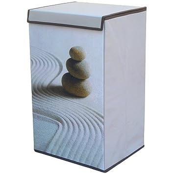 promobo meuble zen panier au linge lessive sale galets dsert sable