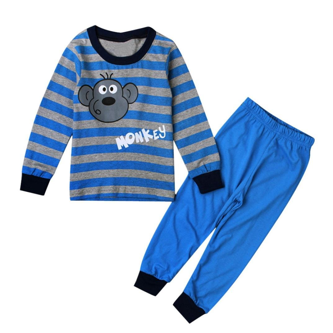 Pants Clothes Outfits Sleepwear 7T Kids Baby Monkey T-shirt Tops Wakeu Pajama Sets for Toddler Boys 2T