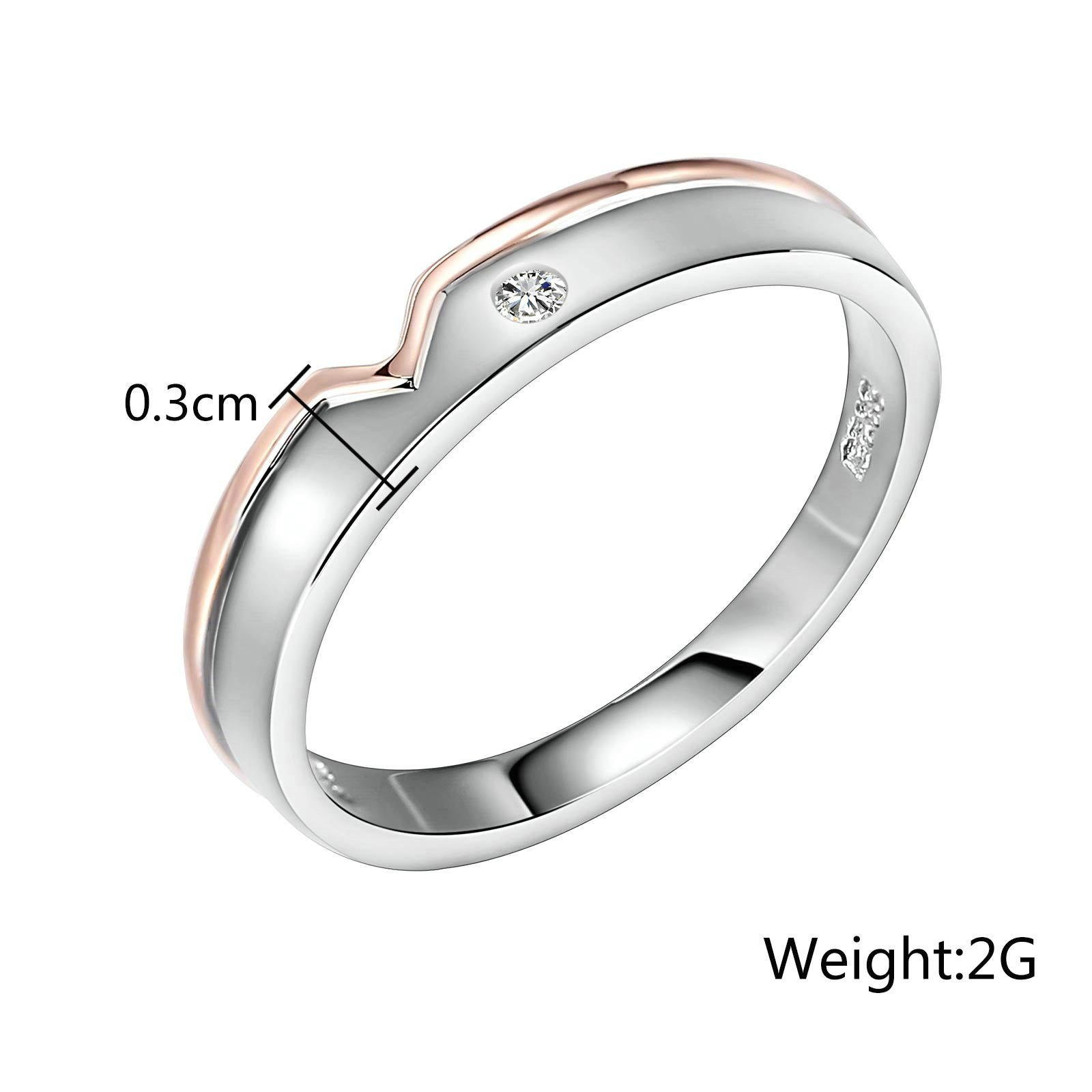 Beydodo Silver Rings for Mens Size 9 Silver Rose Gold Ring White Cubic Zirconia Ring for Wedding Bands by Beydodo