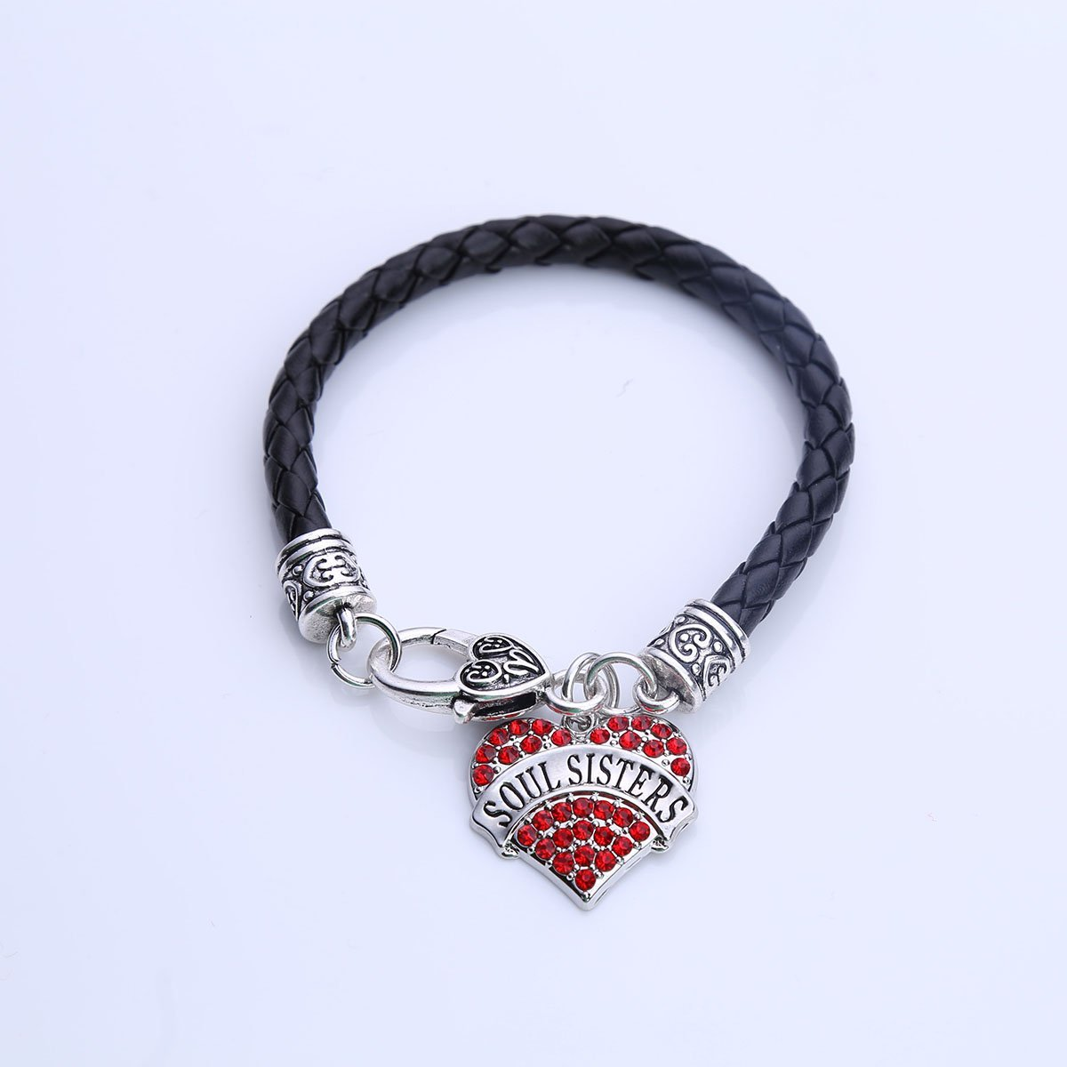 Red Soul Sisters Heart leather Bracelet Crystal Silver Family Member Sister Series Lobster Claw Bracelets
