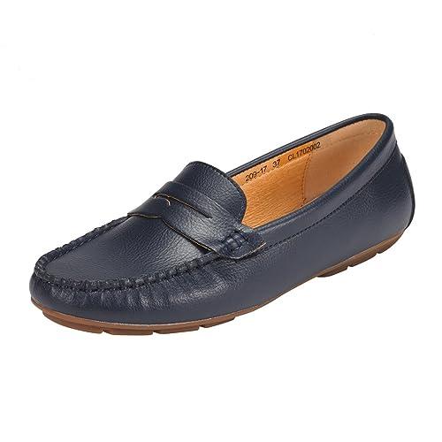 JENN ARDOR Mocasines Penny para Mujer: Mocasines de Cuero cómodos Antideslizantes de Cuero Vegano-Azul Marino: Amazon.es: Zapatos y complementos