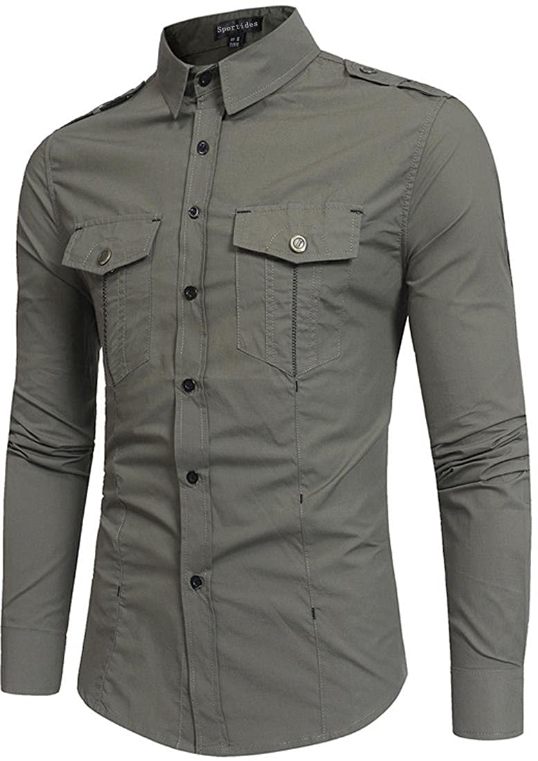 Sportides Uomo Camicia Casual Long Sleeve Plaid Button Down Check Shirts Tops JZA102