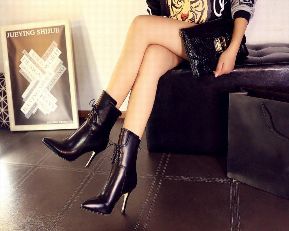 CXY Hochhackige Damen Stiefel in Edlem High-End High-End High-End mit Spitzen High-End Damenschuhen Schwarz 35 7a3f0a