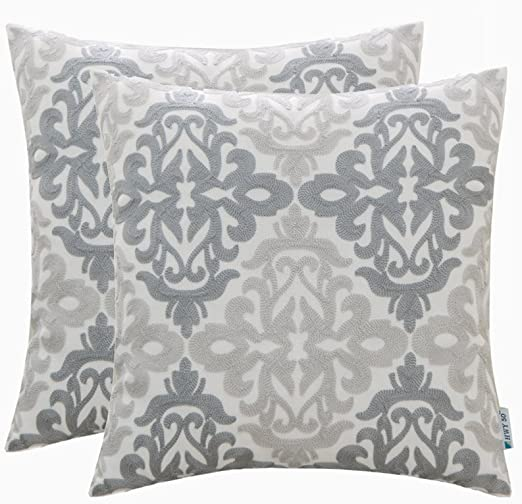 HWY 10 Cotton Linen Grey Gray Decorative Embroidered Throw Pillows Covers  Set Cushion Cases for Couch Sofa Living Room 10 x 10 inch Pack of 10