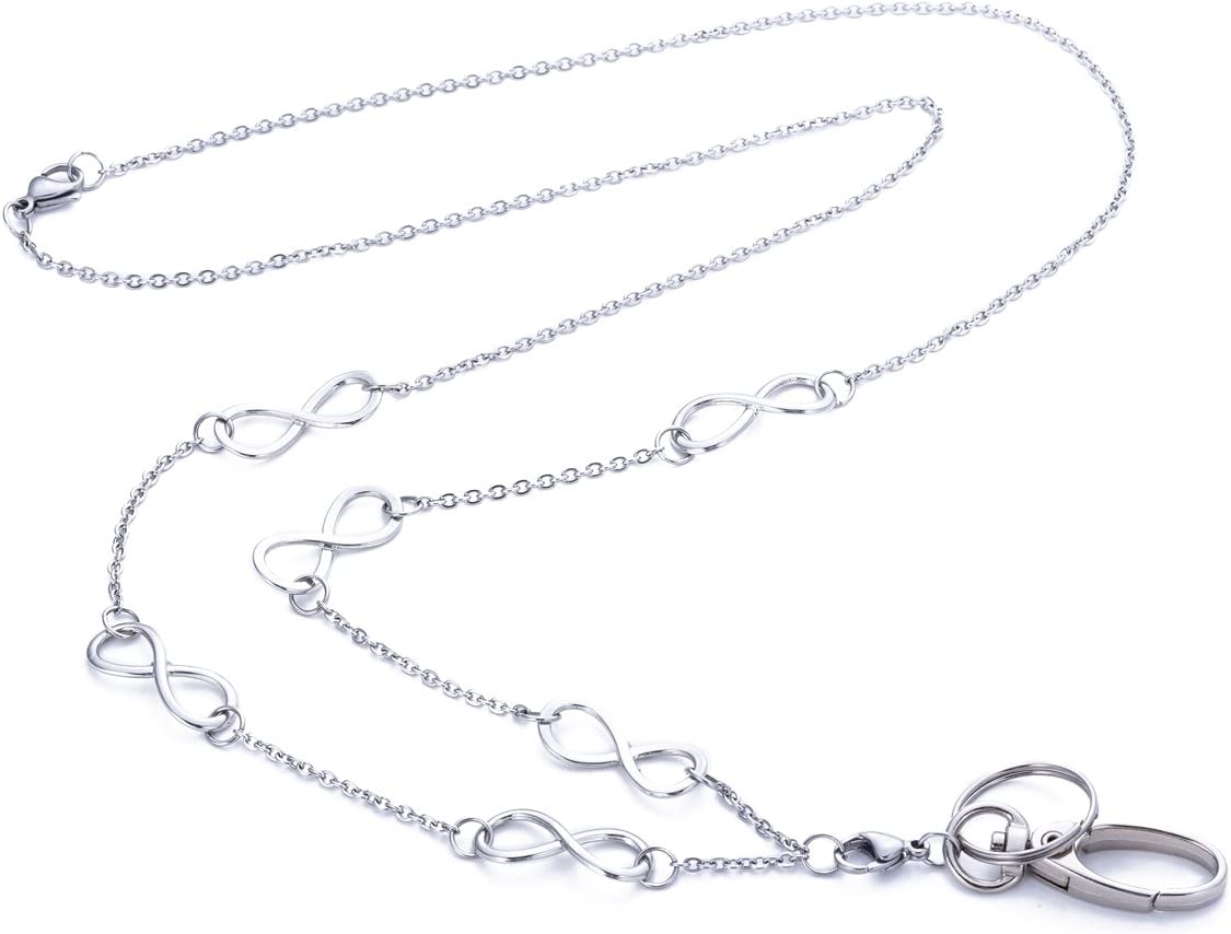 W3 Womens Fashion Lanyard Necklace Chain Lanyard Super Strong for Keys Badge Holder