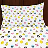 Twin Size Emoji Bed Set Sutton Home Fashions (3 Piece Emoji Bed Sheet Set Twin Size Microfiber Bedding with Flat Fitted Bed Sheets Emoji Pillow Case