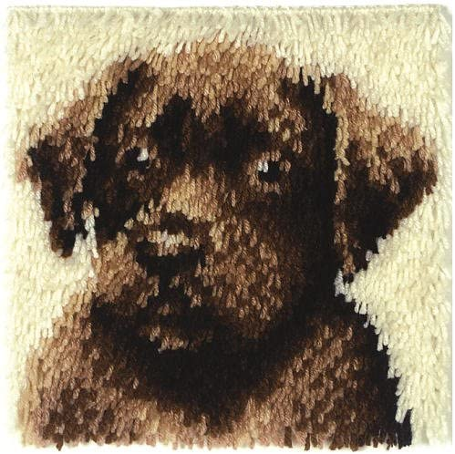 Wonderart Latch-Hook Kit 12 X 12 Chocolate Dog