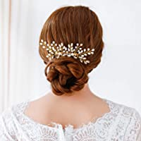 Jovono Bride Wedding Hair Comb Bridal Headpieces Gold Hair Accessories with Rhinestone and Beaded for Women and Girls