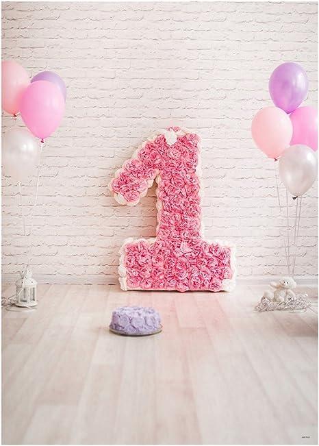 Luoem Baby 1 Geburtstag Foto Hintergrund 3d Cartoon Ballon Blumen Fotografie Hintergrund Wand Requisiten Für Baby Geburtstag Foto Studio Hintergrund Küche Haushalt