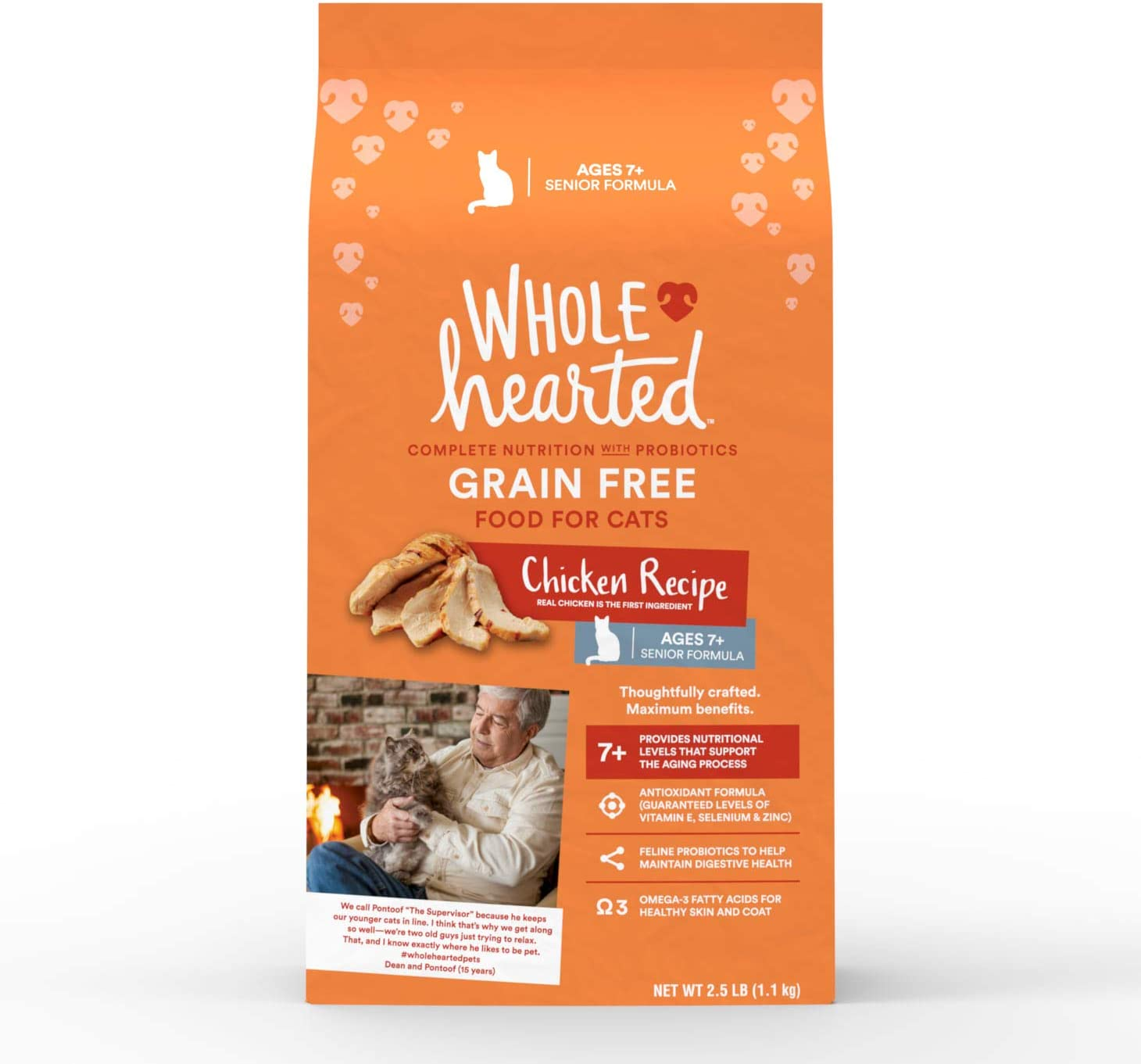 WholeHearted Grain Free Senior Chicken Recipe Dry Cat Food, 2.5 lbs.