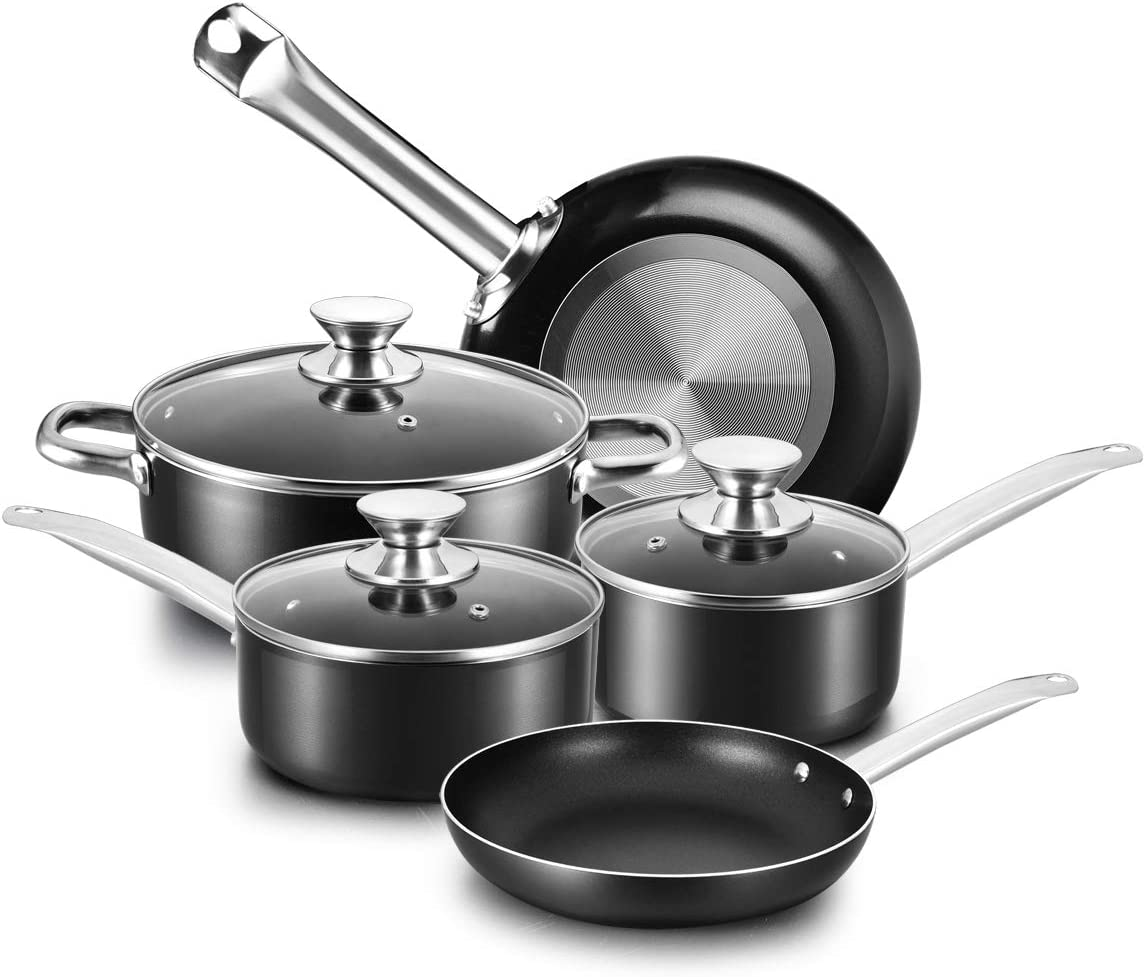 COOKER KING Nonstick Cookware Set, 8-Piece Nonstick Pots and Pans Set with Glass Lids, Baking Sets, Cooking Pots Set, Oven Safe, Dishwasher Safe, Stainless Steel Handles, NO PFOA/NO TOXIN, 8pcs, Black
