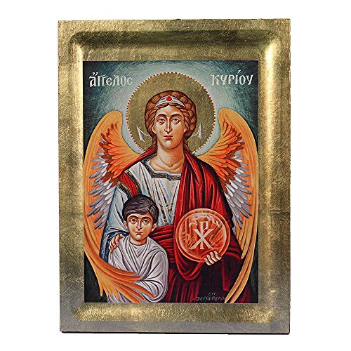 Guardian Angel Greek Painted Icon by Catholic Gifts USA
