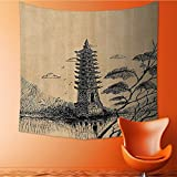 Nalahomeqq Asian Decor Custom tapestry by Old Stone Tiered Tower Vintage Style Taoist House of Faith Historical Illustration drawing room Decoration Pale Brown Black 70 W x 92 L INCH