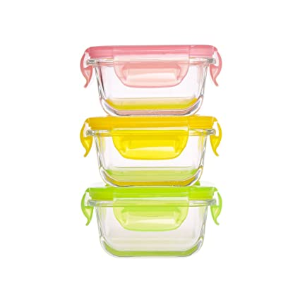 Merveilleux Mini Glass Baby Food Storage Containers   Food Prep Containers With Locking  Lids BPA Free