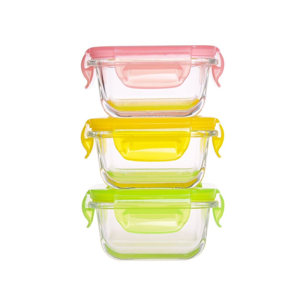 Mini Glass Baby Food Storage Containers - Food Prep Containers with Locking Lids BPA Free - Food Storage Containers Airtight -Meal Prep Container(5.08oz,0.64cup,Square)