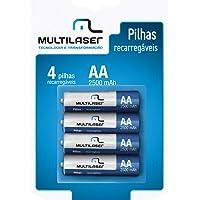 Pilhas Recarregáveis AA 2500mAH com 4 Unidades, Multilaser, CB052, Multicor